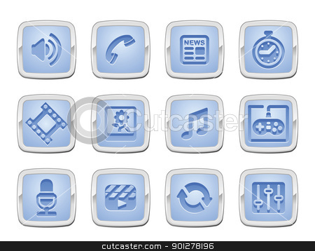 media icon set stock vector clipart, illustration of a media icon set, or series of media studies signs  by Christos Georghiou
