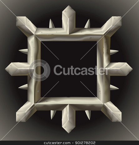 Rusty spiky metal frame border stock vector clipart, A rusty grunge metal frame border with spikes by Christos Georghiou