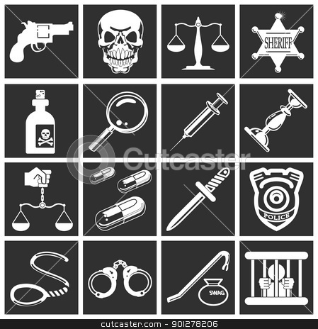 law, order, police and crime icons stock vector clipart, a series of design elements or icons relating to law, order, police and crime  by Christos Georghiou