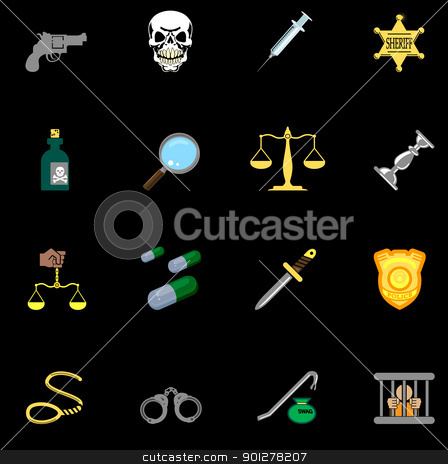 law, order, police and crime icons stock vector clipart, a series of design elements or icons relating to law, order, police and crime.  by Christos Georghiou