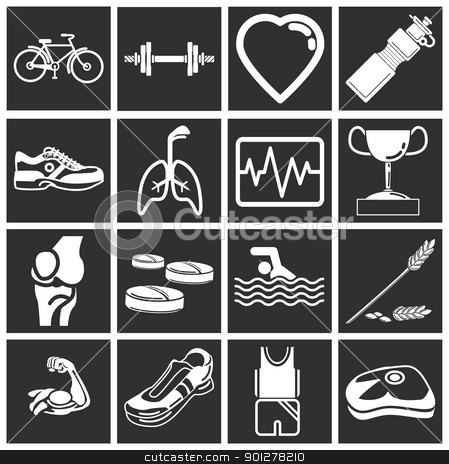 health and fitness icon set series stock vector clipart, health and fitness icon set series. Icon or design element set series relating to health and fitness.  by Christos Georghiou