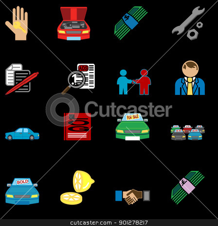 icons related to purchasing a car  stock vector clipart, icons or design elements related to purchasing a car  by Christos Georghiou
