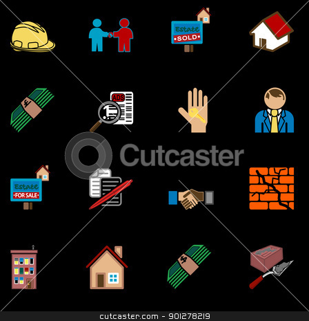 home buying icon set stock vector clipart, icons or design elements related to home / house buying, real estate, or estate gents.  by Christos Georghiou