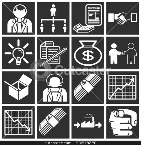 business icon set stock vector clipart, Icons or design elements related to business and organisation.  by Christos Georghiou