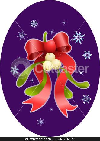 mistletoe christmas  illustration stock vector clipart, A vector illustration of Christmas mistletoe and bow  by Christos Georghiou