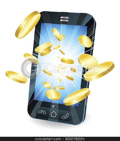 Gold coins flying out of smart mobile phone stock vector clipart, Conceptual illustration. Money in form of gold coins flying out of new style smart mobile phone. by Christos Georghiou
