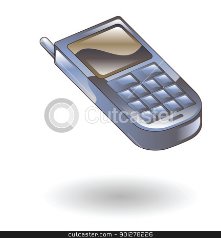 mobile phone Illustration stock vector clipart, Illustration of a mobile phone by Christos Georghiou