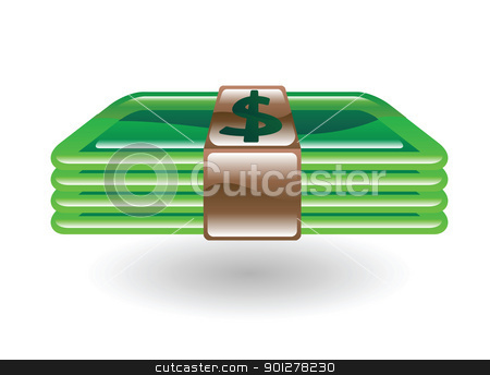 money dollars stock vector clipart, Illustration of a wad of money by Christos Georghiou