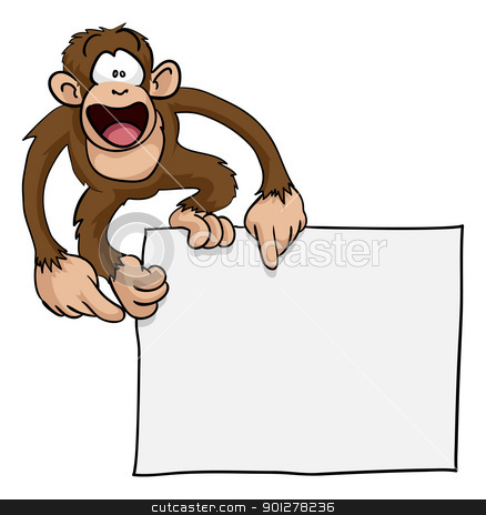 Crazy cute monkey sign illustration stock vector clipart, A crazy cute excited monkey pointing at a blank sign with copy-space illustration by Christos Georghiou