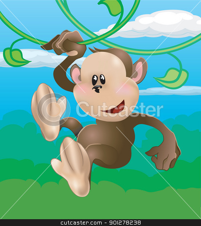cute monkey illustration stock vector clipart, A cute monkey swinging through the trees  by Christos Georghiou