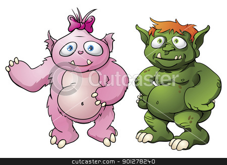Cute monster cartoon characters stock vector clipart, A couple of cute cartoon character monster mascots. Maybe a married couple? by Christos Georghiou