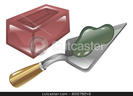 Brick mortar and trowel illustration stock vector clipart, Red brick mortar and trowel shiny icon illustration   by Christos Georghiou