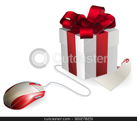 Computer Mouse Gift stock vector clipart, Mouse attached to a gift concept. Buying gifts by online shopping or being given gifts for surfing the web or buying online. by Christos Georghiou