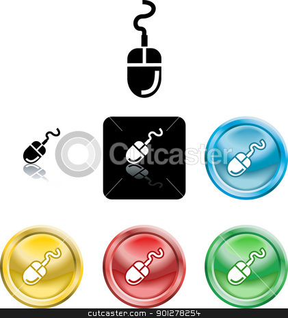Computer Mouse Icon Symbol stock vector clipart, Several versions of an icon symbol of a stylised computer mouse   by Christos Georghiou