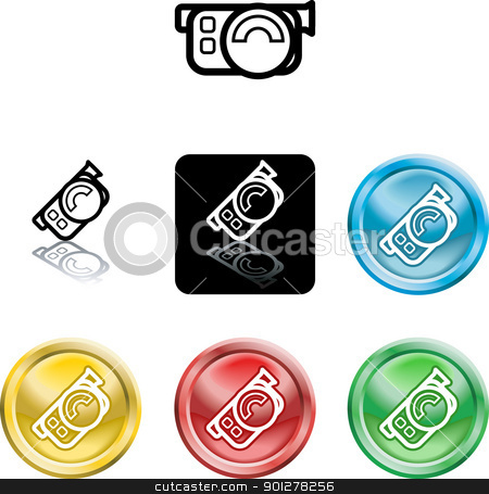 movie camera icon symbol stock vector clipart, Several versions of an icon symbol of a stylised movie camera  by Christos Georghiou