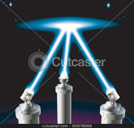 Searchlights stock vector clipart, Some searchlights or spotlights lighting up the starry night sky. No meshes used. by Christos Georghiou