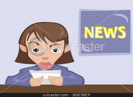 newsreaderl illustration stock vector clipart, news reader, anchor or presenter  by Christos Georghiou