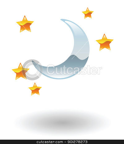 nightlife illustration stock vector clipart, Illustration of moon and stars by Christos Georghiou