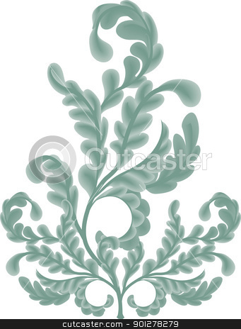 oak leaves  Illustration stock vector clipart, An illustration of some pretty oak leaf scrolls. No meshes uses  by Christos Georghiou