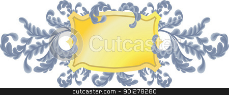oak leaves shield stock vector clipart, An illustration of a shield or plaque with pretty oak leaf scrolls. No meshes used  by Christos Georghiou
