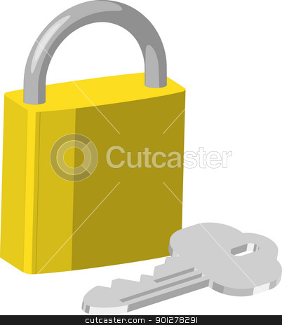 padlock Illustration stock vector clipart, An illustration of brass pad lock and keys  by Christos Georghiou