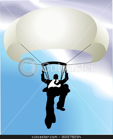 parachute man  business concept illustration stock vector clipart, Conceptual piece. A falling business man saved by a parachute. Copyspace on chute to write whatever you like on it (perhaps a company name!). No meshes used. Main image on separate layers for easy editing.  by Christos Georghiou