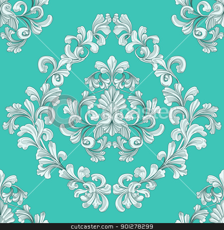 seamless tiling floral wallpaper pattern  stock vector clipart, retro seamless tiling floral wallpaper pattern reminiscent of floral victorian designs inspired by greek and roman ornament by Christos Georghiou