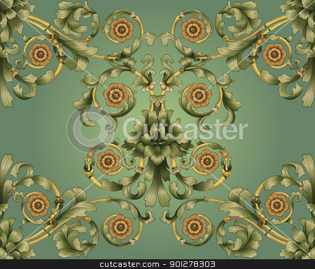 green  floral pattern stock vector clipart, retro seamless tiling floral wallpaper pattern reminiscent of floral victorian designs inspired by greek and roman ornament. Designed to look at its best when tiled.  by Christos Georghiou