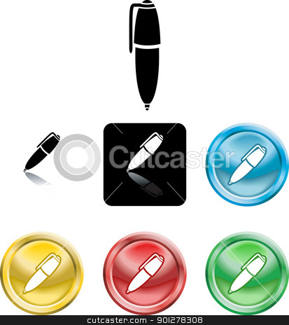 pen symbol icon stock vector clipart, Several versions of an icon symbol of a stylised pen   by Christos Georghiou