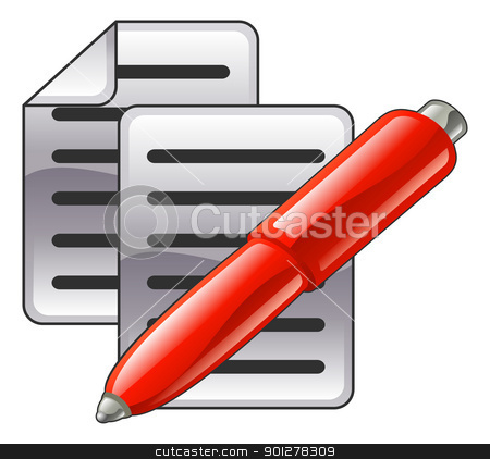Shiny red pen and documents  stock vector clipart, Shiny red pen and documents or contacts icon illustration.  by Christos Georghiou