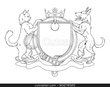 Cat and dog pets heraldic shield coat of arms stock vector clipart, Cat and dog pets heraldic shield coat of arms. Notice the collar instead of garter. by Christos Georghiou