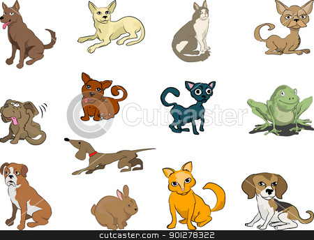 cute pets stock vector clipart, Some cats and dogs (plus a rabbit and a frog thrown in!)  by Christos Georghiou