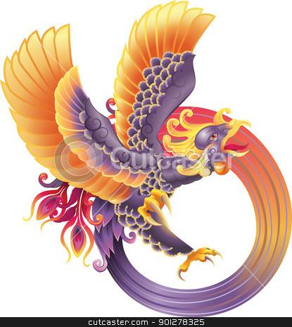 phoenix fire bird stock vector clipart, A beautiful phoenix illustration by Christos Georghiou