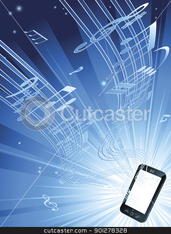 Mobile phone music background stock vector clipart, Blue mobile phone music background with musical notes streaming out of smart phone by Christos Georghiou