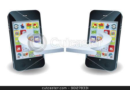 Smartphones communicating stock vector clipart, Smartphones communicating via wireless technology concept by Christos Georghiou