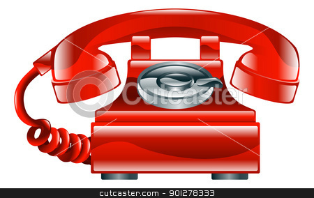 Shiny red old fashioned phone icon stock vector clipart, Illustration of shiny red old fashioned landline phone icon.  by Christos Georghiou