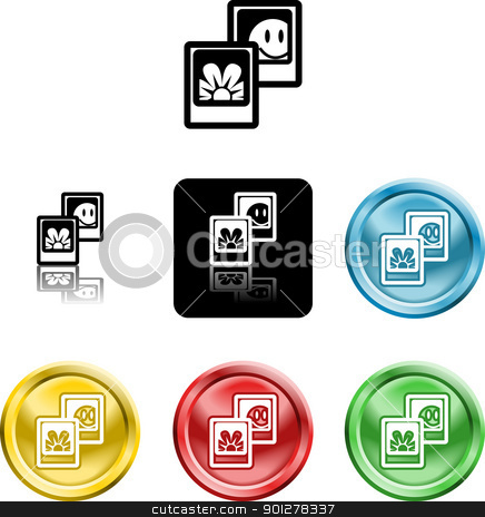 photos media icon symbol stock vector clipart, Several versions of an icon symbol of stylised photos  by Christos Georghiou