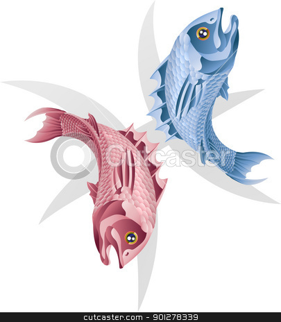 Pisces the fish star sign stock vector clipart, Illustration representing Pisces the fish star or birth sign. Includes the symbol or icon in the background by Christos Georghiou