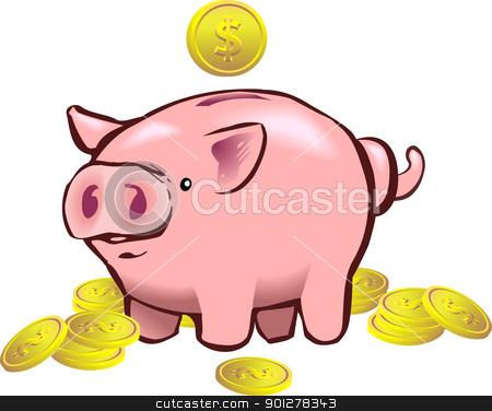 piggy bank moneybox stock vector clipart, a piggy bank with a coin going into it.  by Christos Georghiou