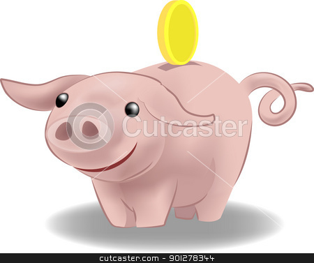 piggy bank illustration stock vector clipart, a piggy bank with a coin going into it.  by Christos Georghiou
