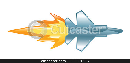 plane stock vector clipart, Illustration of a jet plane with flames by Christos Georghiou