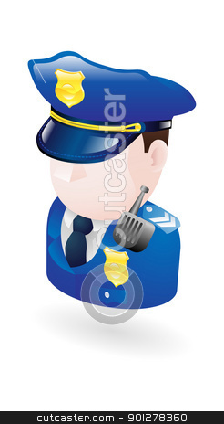 policeman illustration stock vector clipart, Illustration of a policeman by Christos Georghiou