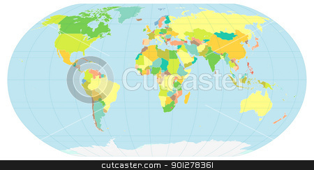 political world map stock vector clipart, illustration of the globe, depicting the political world by Christos Georghiou