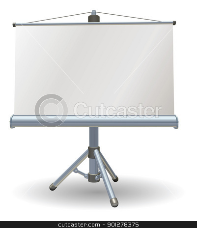 Blank presentation or projector roller screen stock vector clipart, A blank presentation or projector roller screen by Christos Georghiou