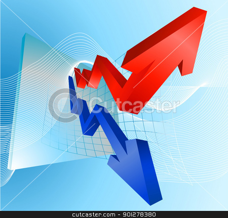 Illustration of profit and loss graph with arrows stock vector clipart, Illustration of profit and loss graph with red and blue arrows  by Christos Georghiou
