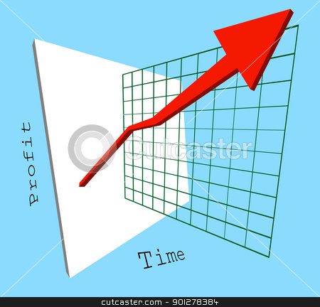 profits are up! stock vector clipart, A 3d graph showing profits shooting up jumping out of the screen. Colours easily changed.  by Christos Georghiou