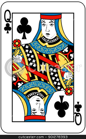 queen of clubs stock vector clipart, Queen of Clubs playing card by Christos Georghiou