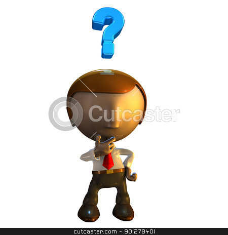 3d business man character with question mark stock photo, 3d business man character with question mark over his head by Christos Georghiou