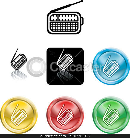 radio symbol icon stock vector clipart, Several versions of an icon symbol of a stylised radio  by Christos Georghiou