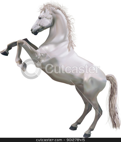rearing horse illustration stock vector clipart, A photorealistic illustration of a horse rearing up on its hind legs. Created with meshes.  by Christos Georghiou